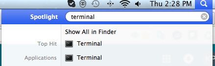 Terminal in spotlight search