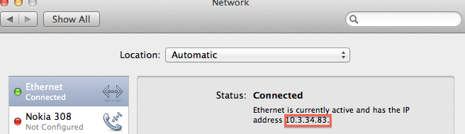 Get IP address on Mac