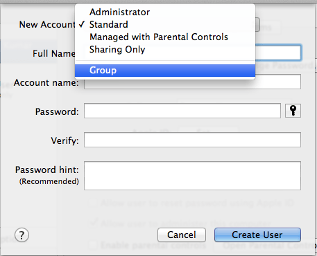 Create a group account on Mac
