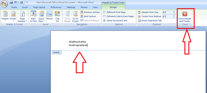add header to word