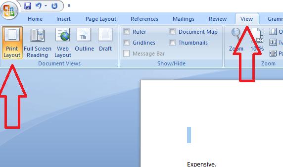 print layout ms word