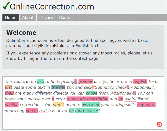 online correction grammar checker