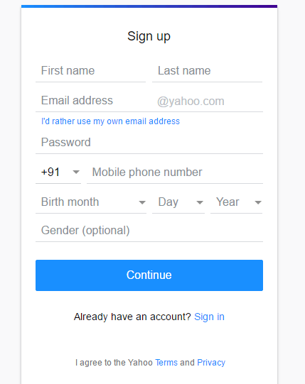 Creating a new Yahoo mail account