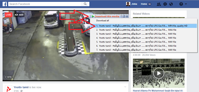 downloading facebook video with IDM