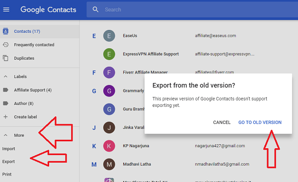 exort gmail contacts