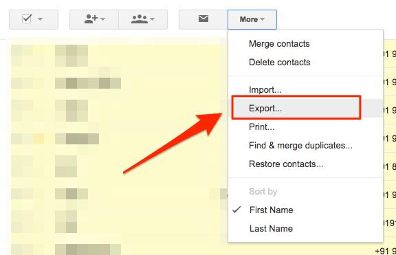 export google contcats using GC