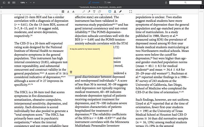 PDF Expert Note tool