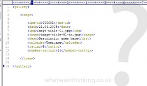 XML code snippet for the Adobe AIR image gallery