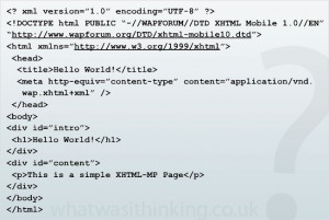A sample code snippet of an XHTML-MP mobile web page