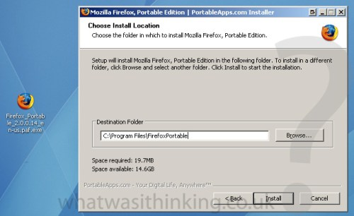 Installing FireFox 2 Portable - Whatwasithinking.co.uk