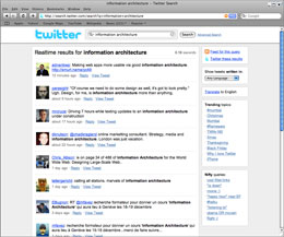 Twitter's own real-time search lists all visitors talking about a specific subject matter