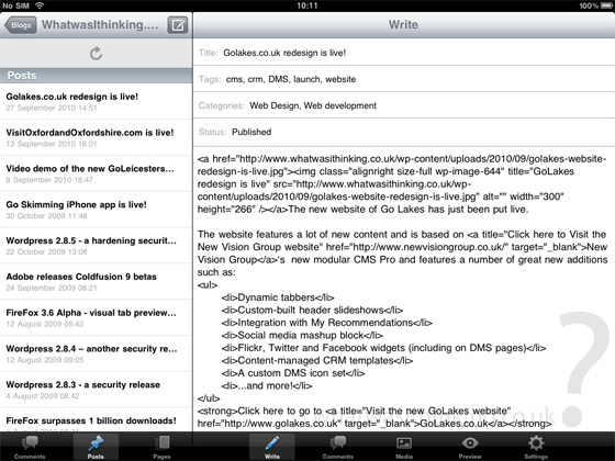 Wordpress for the iPad screenshot