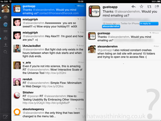 Twitter for iPad screenshot