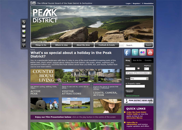 Visit Peak District website screenshot