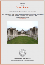 CWGC Certificate for Arnold Eaton