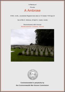 CWGC Certificate for Arthur Ambrose