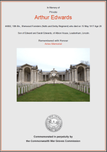 CWGC Certificate for Arthur Edwards