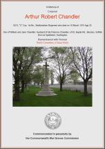 CWGC Certificate for Arthur Robert Chandler