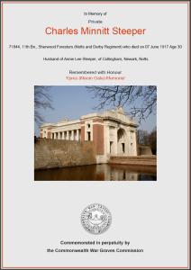 CWGC Certificate for Charles Minnitt Steeper