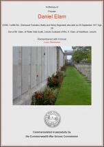 CWGC Certificate for Daniel Elam