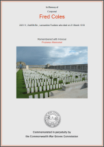 CWGC Certificate for Fred Coles