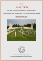 CWGC Certificate for Hague France