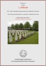 CWGC Certificate for John Jellicoe