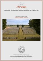 CWGC Certificate for John Naylor Green