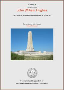CWGC Certificate for John William Hughes