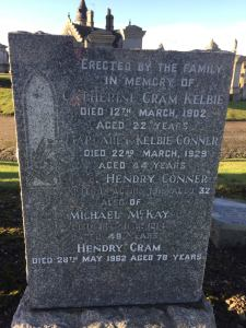 Headstone for Catherine Cram Kelbie and other family members