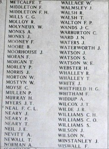 Memorial Panel for Frank Middleton - Menin Gate