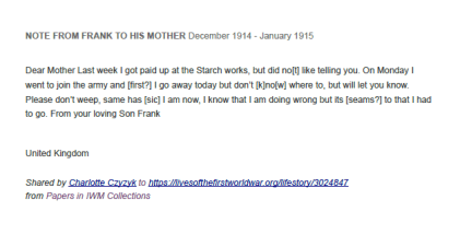 Note from Frank Middleton to his mother, 1914-1915