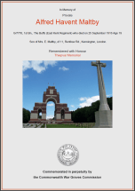 CWGC Certificate for Alfred Hannant Maltby
