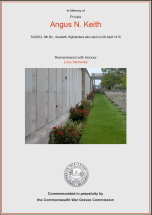 CWGC Certificate for Angus Nelson Keith