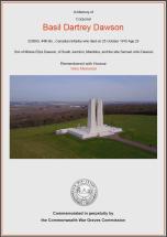CWGC Certificate for Basil Dartrey Dawson