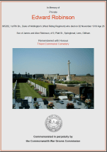 CWGC Certificate for Edward Robinson