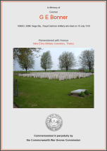 CWGC Certificate for George Ernest Bonner