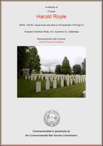 CWGC Certificate for Harold Royle