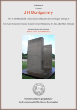 CWGC Certificate for Jack Hamilton Montgomery