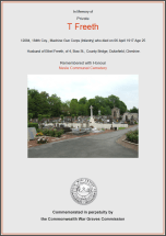 CWGC Certificate for Tom Freeth