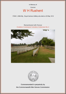 CWGC Certificate for William Henry Rushent