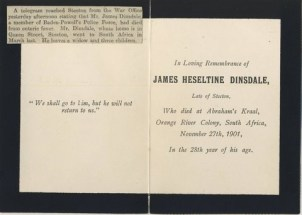 Death of James Heseltine Dinsdale