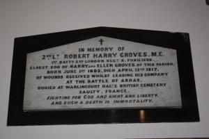 Memorial in St Alfege's Church for Robert Harry Groves