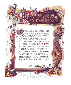 Page from Canadian Book of Remembrance