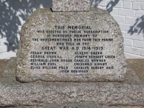 Winteringham Memorial names