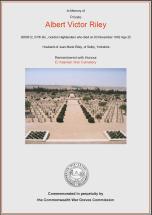 CWGC Certificate for Albert Victor Riley