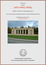 CWGC Certificate for John Henry Waby