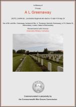 CWGC Certificate for Arthur Leonard Greenaway