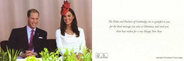 Christmas Card from the Duke and Duchess of Cambridge from 2011  Front (left) and back (right)
