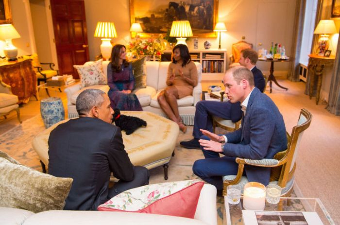 Obamas with Duke and Duchess of Cambridge in Apartment 1A Kensington Palace